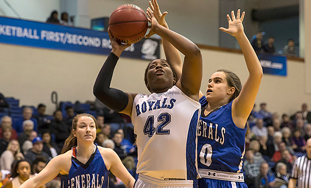 Shakeerah Sykes picked up her ninth double double of the season during the women's January 31 win over Virginia Wesleyan. (Photo by Scott Eyre)