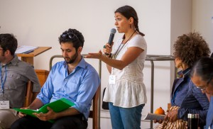 Soula Pefkaros, project manager for the restorative justice consultation, with facilitator and Center for Justice and Peacebuilding graduate student Ahmed Tarik at her right.