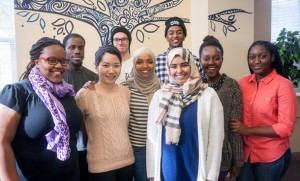 International Student Organization members (from left): Brenda Soka, Gee Paegar, Sun Ju Lee, Marcus Ekman, Kaltuma Noorow, Wael Gamtessa (back row), Norah Alobikan, Zoe Parakuo and Winifred Gray-Johnson. (Photo by Michael Sheeler)