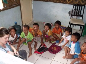 Children enjoy story time with Grace Praseyto in Indonesia. (Courtesy photo)