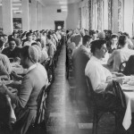 Eastern Mennonite University students dine in the Northlawn Dining Hall in 1955, when family-style dining was the norm. (EMU Archives)
