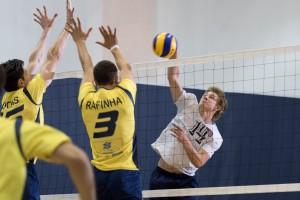 Hunter Taylor plays in the Pan Am qualifier against Brazil with the men's national deaf volleyball team. He is a rising junior at Eastern Mennonite University. (Photo by Tara Lanning)