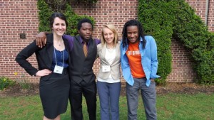 Elisabeth Wilder, Derrick Turner, Lorraine Armstrong and Christian Parks were invited to present research papers at the Eastern American Studies Association annual conference in April. (Courtesy photo)