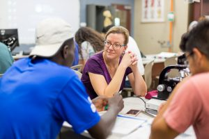 Professor Greta Ann Herin teaches Biology 112 - Human Anatomy and Physiology I in a lab in the Suter Science Center.