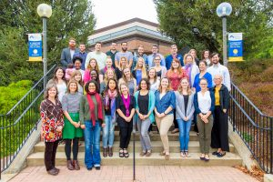 EMU's  MA in Counseling program won the Southern Association of Counselor Education and Supervision Outstanding Master's Counselor Education Award.  Faculty and students gather for a photograph to celebrate.