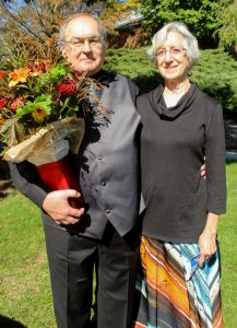 Professor Ken J. Nafziger with wife Helen at the conclusion of Sunday's worship service. (Photo by Jim Bishop)