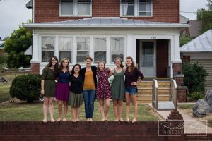The women of Eshet Chayil theme house on the campus of Eastern Mennonite University. From left: Elisabeth Wilder, Kaylee Ferguson, Quinn Kathrineberg, Christina Hershey, Janaya Sachs, Katie Ommert and Adrienne Derstine.