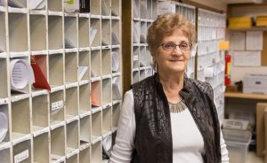 Betty Hertzler retired in spring 2016 after 41 years in EMU's post office. (Photo by Andrew Strack)