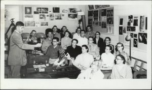 Professor and planetarium director Robert Lehman teaches a class in 1958.