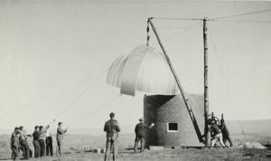 The Vesper Heights Observatory under construction in 1938.