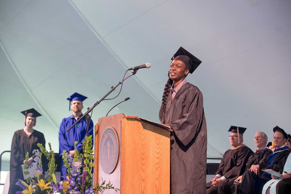Sabrina Burress was selected as the graduate student representative to offer an address during Eastern Mennonite University's Commencement ceremony in May.