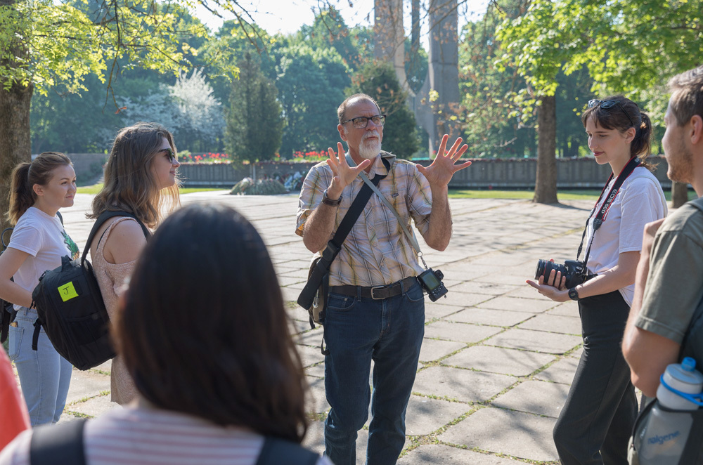 Eastern Mennonite University students on cross-cultural to Lithuania this summer are led by Professor Jerry Holsopple. Students this summer also traveled to Paraguay, Kenya, Bulgaria and Greece, and Washington D.C.