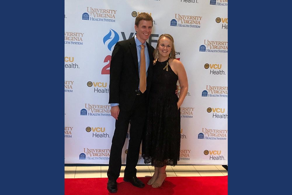 Luella Kaufman Glanzer '06, nursing retention program coordinator with UVA Health Systems, at the Virginia Nursing Association awards ceremony this fall with her husband Monte Glanzer '07.