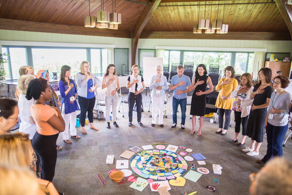 Kay Pranis, renowned practitioner, facilitates a circle process class at Eastern Mennonite University. The circle process, and exploration of the mind-body connection, are among the topics explored in EMU's new MA in Education program focused on trauma and resilience in educational environments.