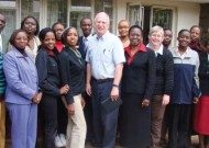 Dr. Gladys Mwiti, director of Oasis Africa, in center (sixth from right on front row), flanked by CJP leaders Lynn Roth and Jan Jenner during their June 2008 visit to Kenya.