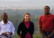 Current CJP students with ties to Kenya (from left) Dennis Oricho, Jeannine Cinco and Muigai Ndoka. Jude Fondah, pictured on the inside back cover, also has lived in Kenya. Photo by Jon Styer.