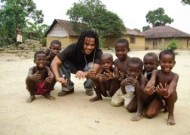 Robert Roche with young friends in Sierra Leone