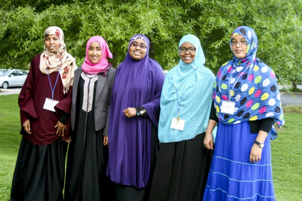 The Somali cohort in the 2013-15 Women's Peacebuilding Leadership Program (left to right): Amina Abdulkadir, Nimo Somo, Nimo Farah, Rukiya A. Aligab, Hinda Hassan.