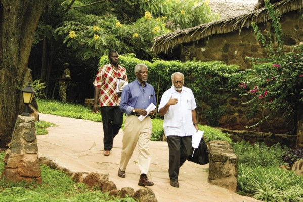 "Professor Hizkias Assefa (right) with former UN Secretary-General Kofi Annan in 2008 in Kaliguni, Kenya: ""We were strategizing mediation during the post-election violence,"" recalls Assefa."