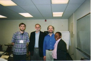 Kabale with Professor Ron Kyrabill and two other Summer Peacebuilding Institute participants in 2003