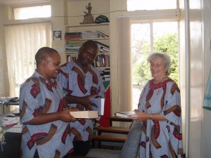 Kabale Ignatius Mukunto (left) with DeEtte Beghtol, former MCC service worker and Babu Ayindo, MA `98, as faculty at Zambia's Mindolo Ecumenical Foundation in Kitwe.