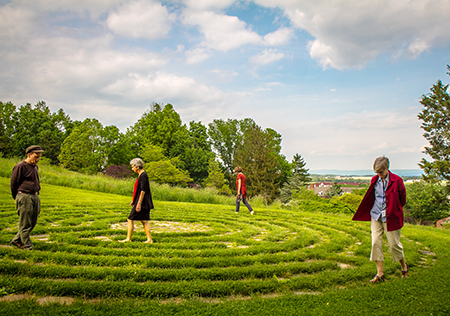 people walking labyrinth